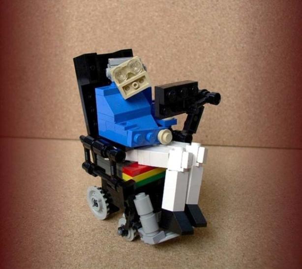 Stephen Hawking as a Lego.