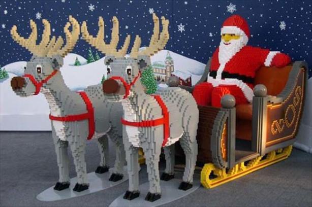 A very large Santa made from Legos